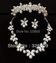 Nueva Llegada Elegante de marfil perla joyería de la boda establece dulce Cristalina magnífica joyería Nupcial accesorios de la boda la Mujer
