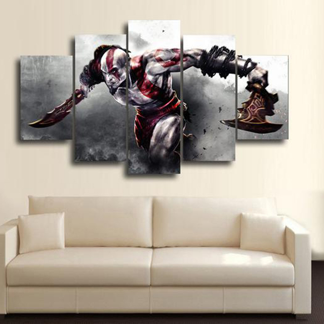 canvas pictures frame printed modern living room 5 panel game god of