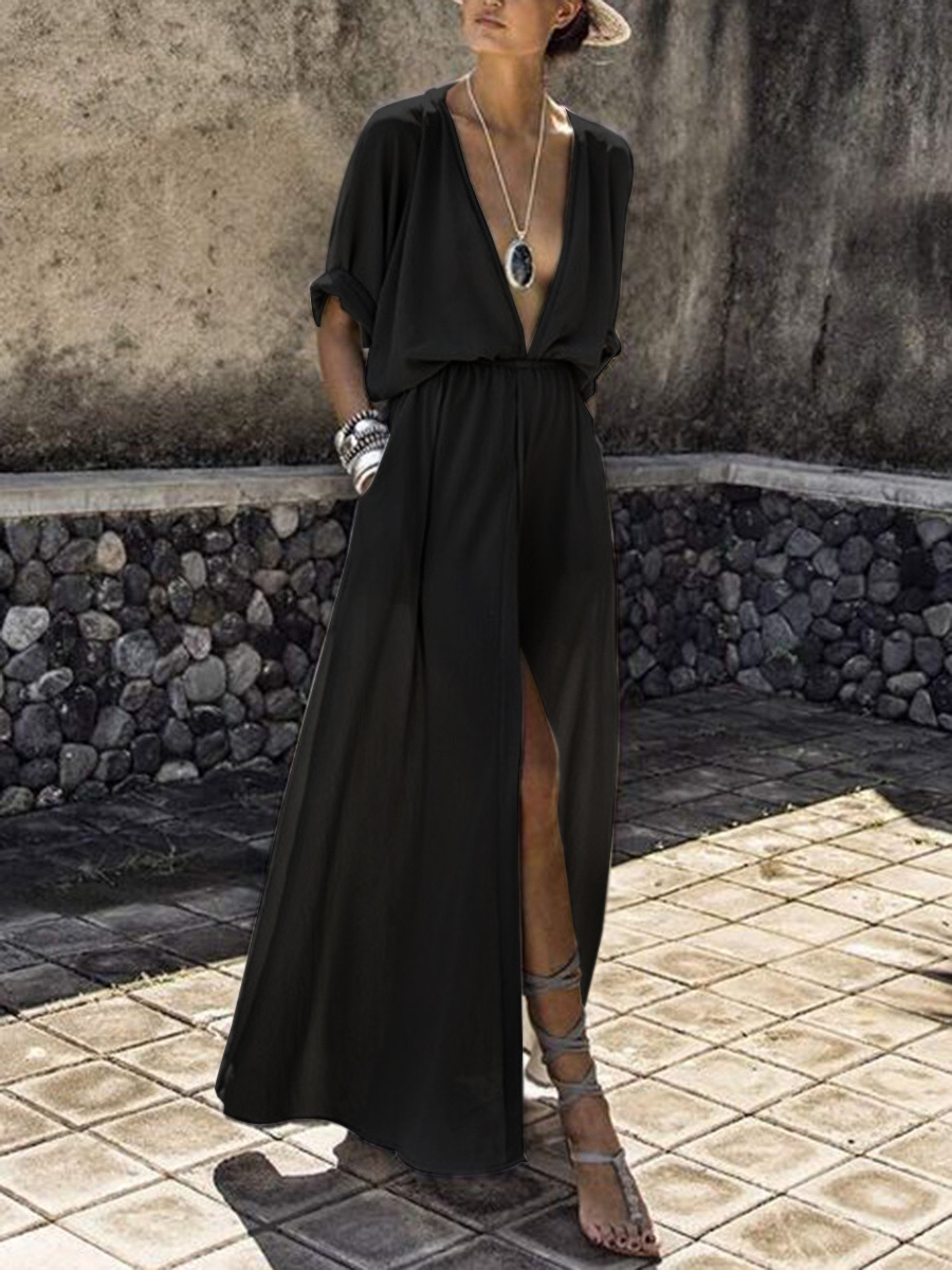 Casual A Line V Neck Black Beach Maxi High Slit Dress Fashion Sexy Night Club Dresses Women Boho Plus Size Solid Color Clothing in Dresses from Women 39 s Clothing