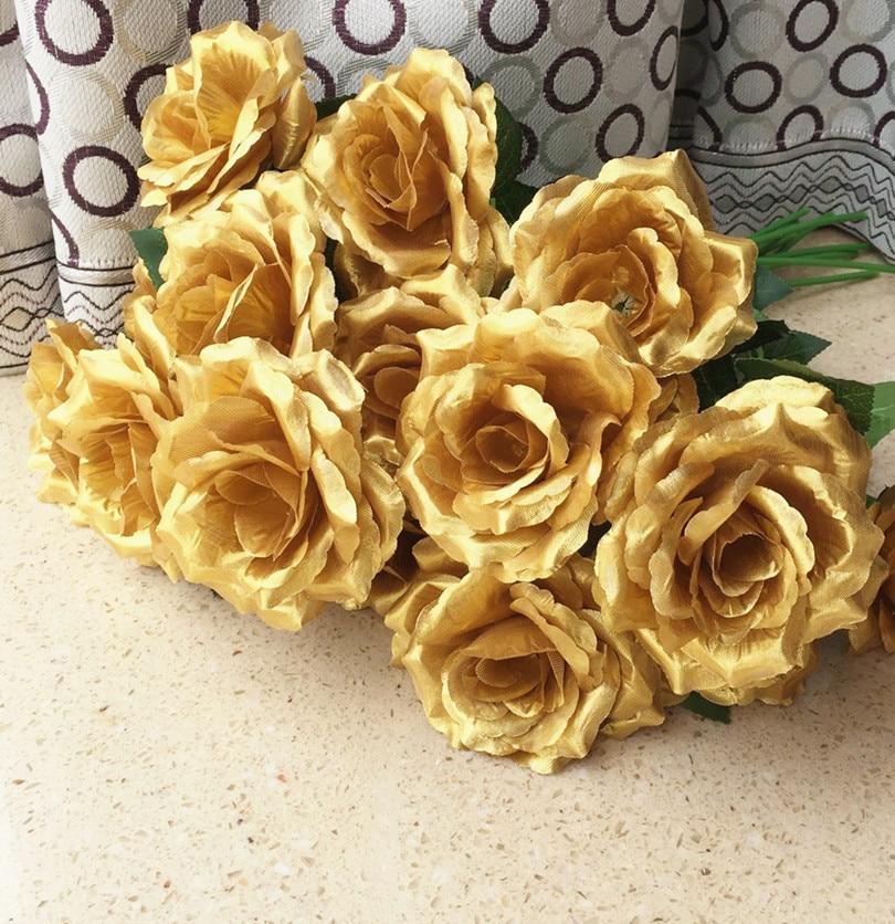 100pcs Single Stalk Rose Camellia Fake Roses Goldsilver Colors For
