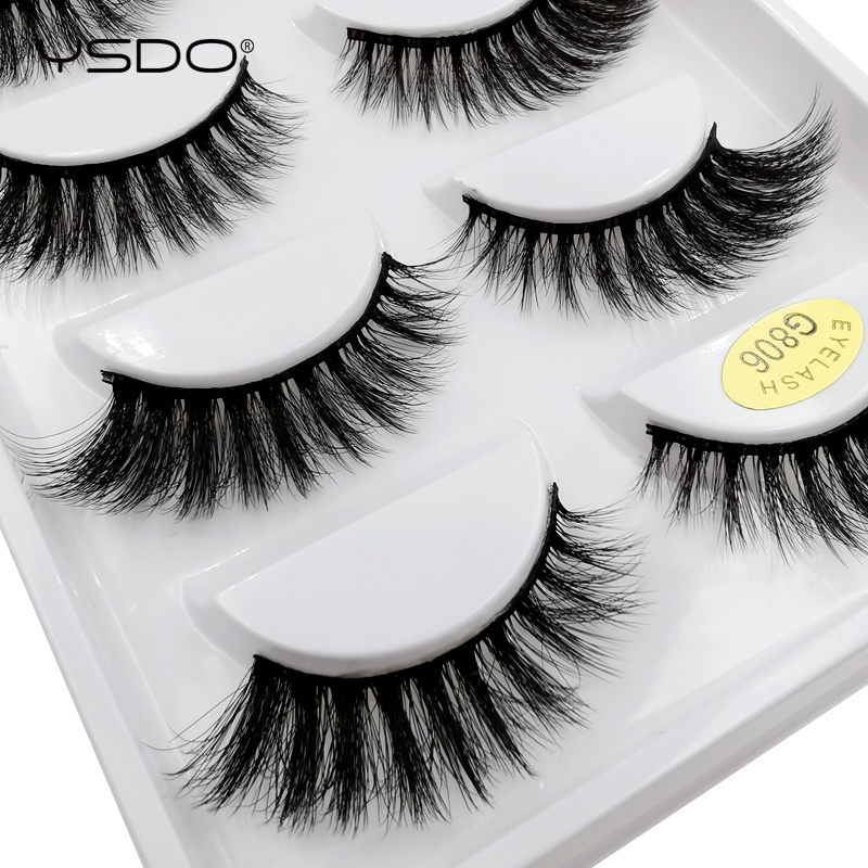 YSDO 5 Pairs Mink Eyelashes Hand Made 3d Natural False Eyelash Faux Cilios Mink Volume Eyelashes 3d Mink Lashes Fluffy Lashes 06