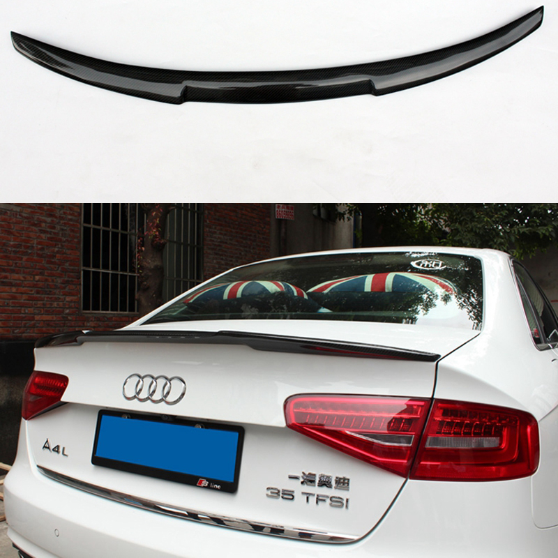 Black Carbon Fiber Rear Boot Spoiler Wing Trunk Spoiler Wing M4 Style for Audi 2013-2016 A4 B8.5 Quattro a4 b7 abt style pu rear window roof spoiler wing lip spoiler for audi a4 b7 06 08