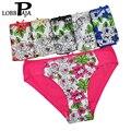 Lobbpaja marca muito 6 pcs mulher underwear calcinhas de algodão da cópia floral das senhoras das mulheres sexy intimates briefs calcinhas para mulheres 681