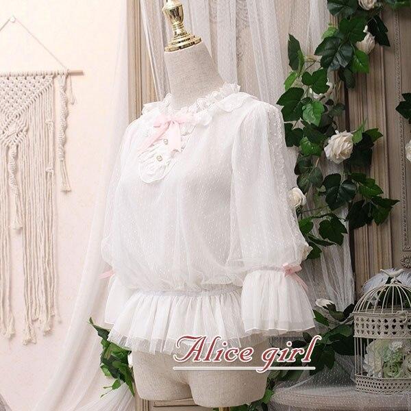 Chaton dans le cadre ~ chemisier en mousseline de soie femme blanc doux haut blanc par Alice Girl ~ pré-commande - 5