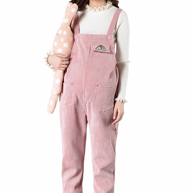 best selection of on sale special selection of US $29.99 50% OFF|2018 Autumn Spring Pregnant Women Loose Embroidery  Corduroy Pencil Rompers Pants Maternity Pink Long Trousers Pregnancy  Jumpsuit-in ...
