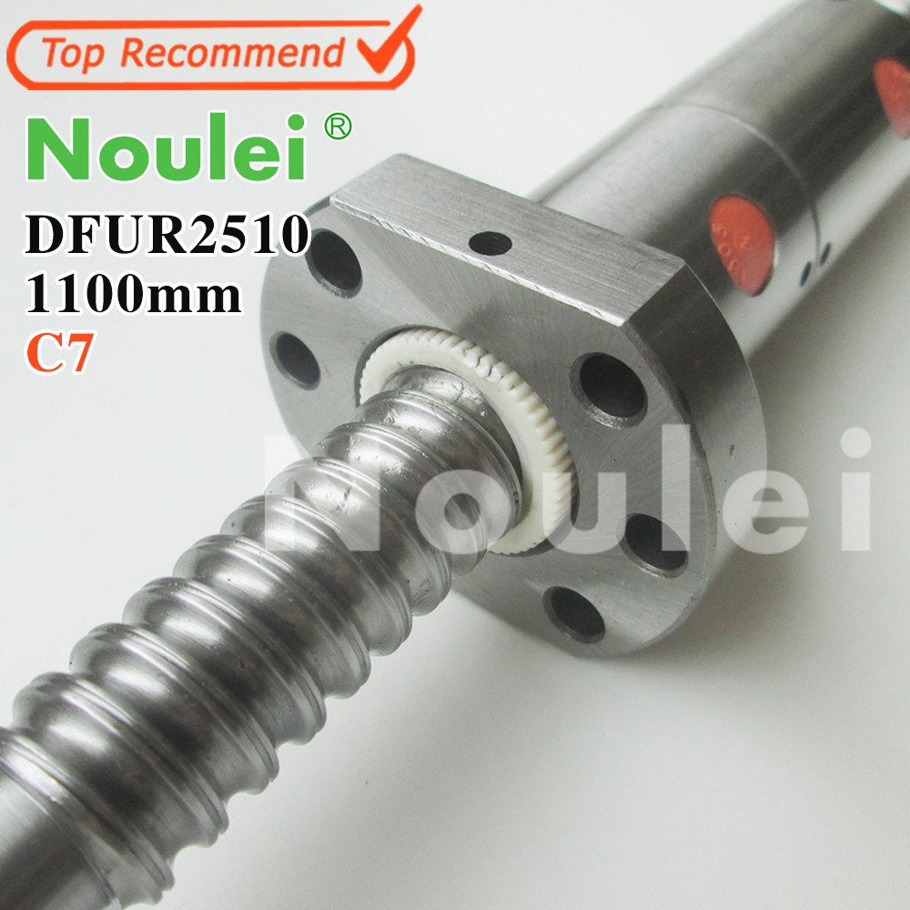 Noulei 2510 C7 1100mm ball screw 10mm lead with DFU2510 ballnut + end machined for CNC diy kit DFU set tbi 2510 c3 620mm ball screw 10mm lead with dfu2510 ballnut end machined for cnc diy kit dfu set