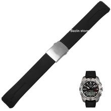 20 millimetri 21 millimetri T013420A Cinturino T Touch II Esperto Nero Cinturino In Gomma di Silicone Per T047420A