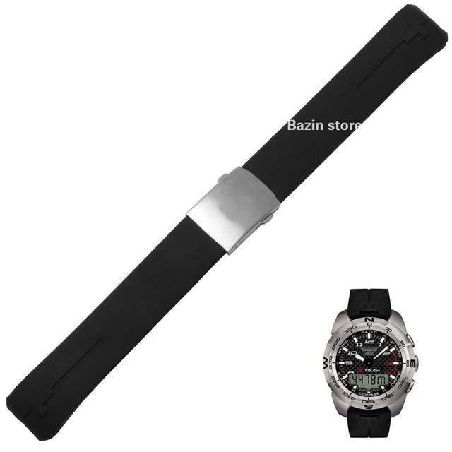 20mm 21mm T013420a Watch Band T-Touch Ii Expert Nero Cinturino In Gomma Di Silic