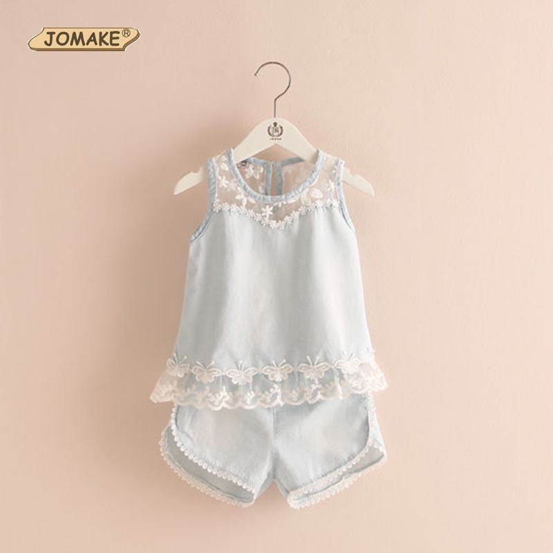 Denim Girls Clothing Sets 2017 Summer New Style Fashion Girl Suits Children Lace Design Tops + Short Jeans Baby Kids Clothes Set 2017 summer new children baby girl clothing denim set outfits short sleeve t shirt overalls skirt 2pcs set clothes baby girls