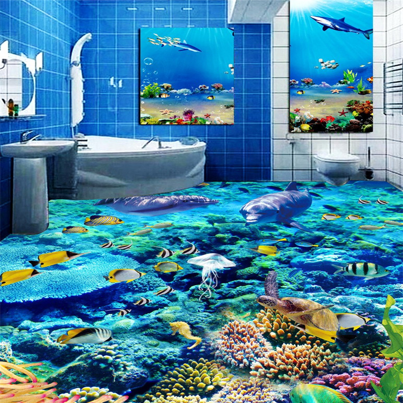 beibehang Underwater World Dolphins Custom Photo Floor 3d flooring Bathroom Floor Mural PVC Wallpaper Self-adhesive Wall paper цена и фото