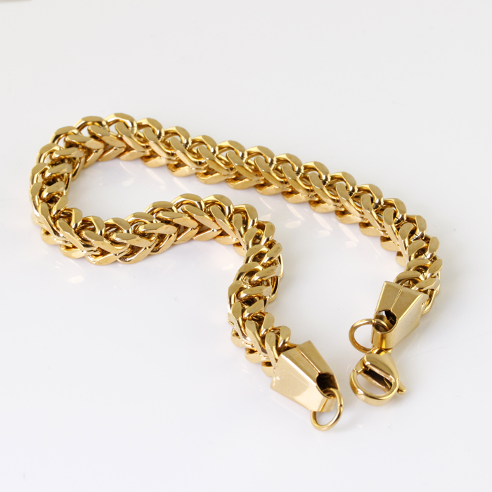 Wholesale Retail 22cm 6mm 27g Stainless Steel 18k Gold
