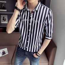 LOLDEAL Summer Stripe Shirt Trend Mens Half Sleeve Fashion Youth  Letters Printing Casual Slim Fit Men
