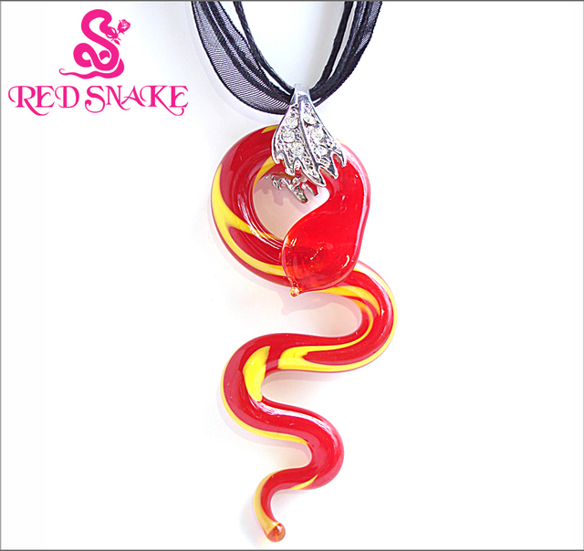 Red snake fashion murano glass streamlined innervation snake pendant red snake fashion murano glass streamlined innervation snake pendant necklaces aloadofball Images