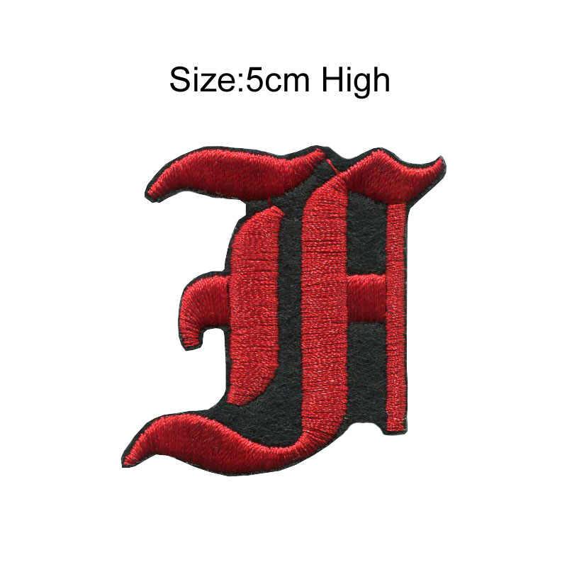 1 PC A-Z 黒赤 5 センチメートル高古英語アルファベット Letteres 混合刺繍バッジに縫うアイアンでパッチ洋服バッグ用ジーンズ