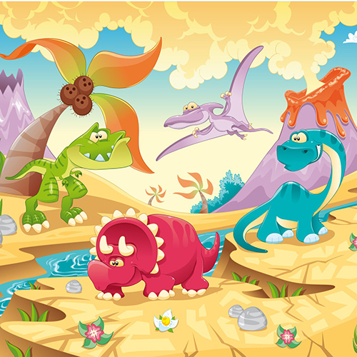 Good Dinosaur Party Palm Tree River Cloud Mountain photo backdrop Vinyl cloth Computer printed wall Photography Backgrounds