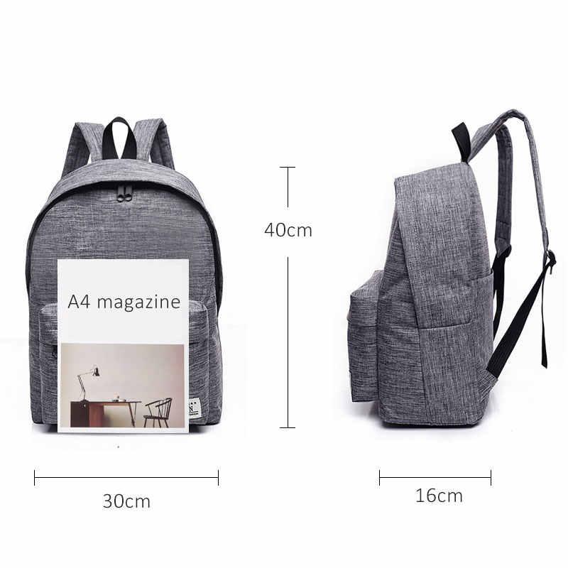 Scione Korea Sederhana Kanvas Ransel Pria/Wanita Sekolah Laptop Ransel untuk Remaja Perjalanan Bagpack Tas Rucksack Mochila