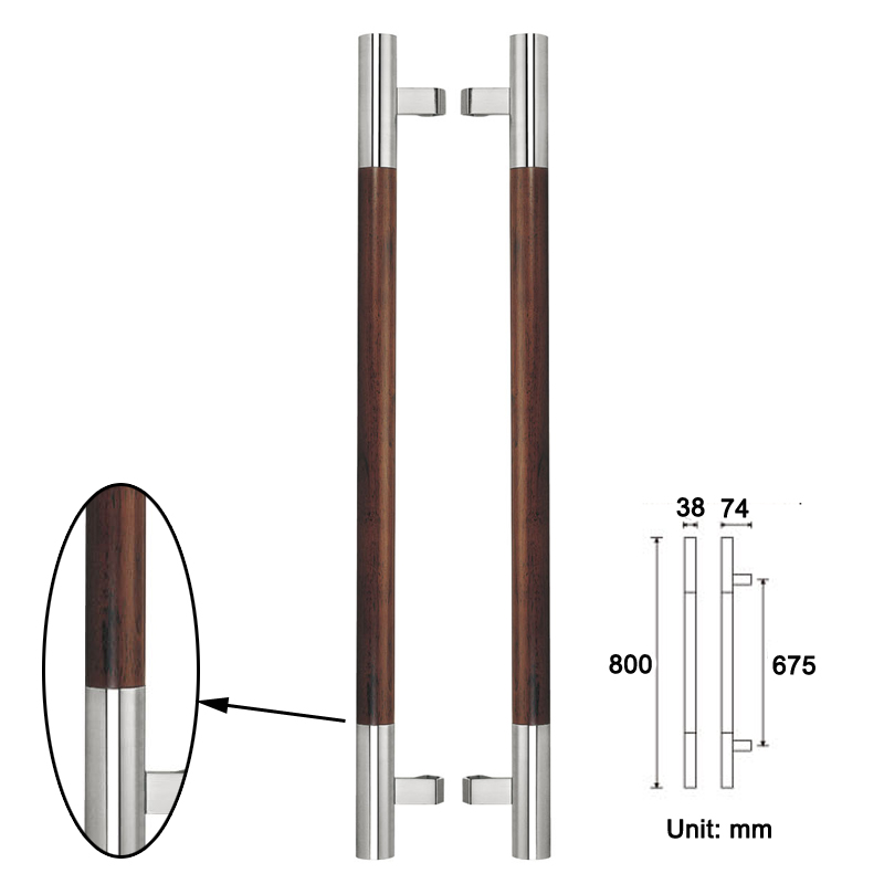Black Solid Wood Entrance Door Pull Handle Made of 304 Stainless ...