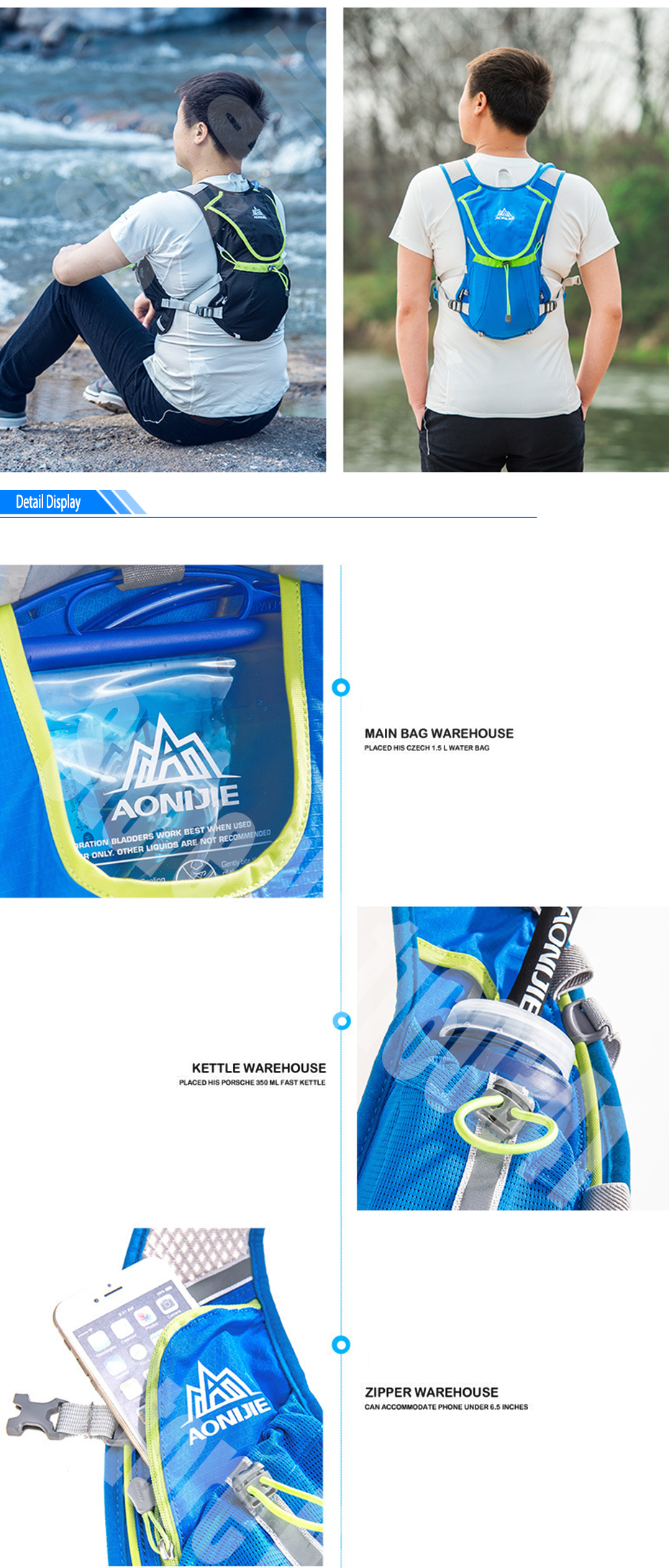 2018 Aonijie Outdoor Trail Running Marathon Hydration Backpack C930 15l Blue Aeproduct