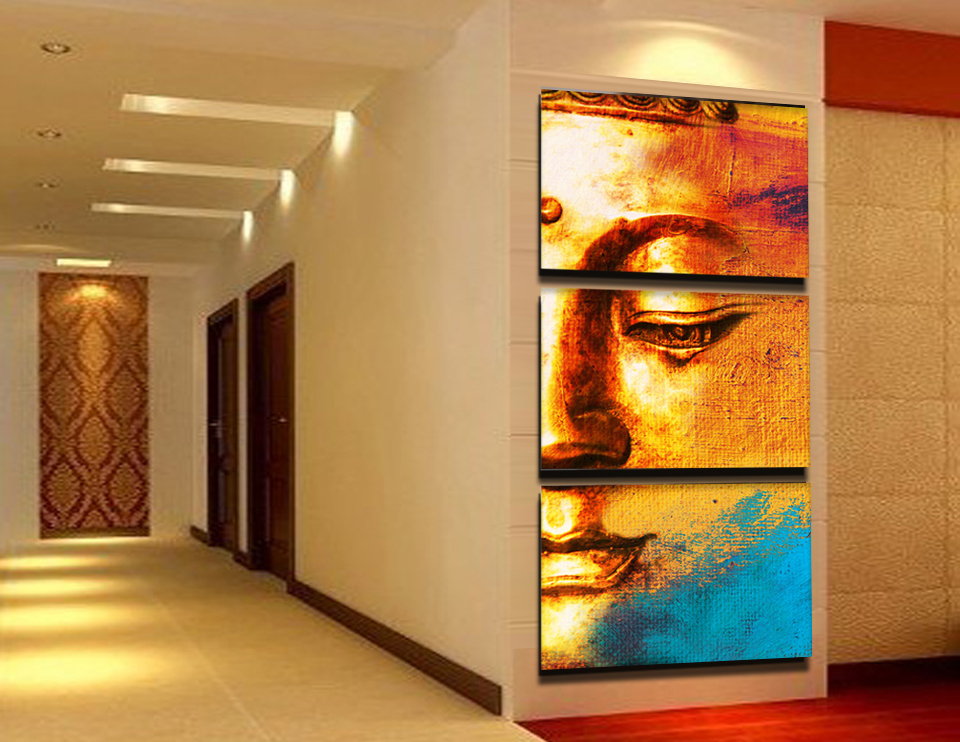 Gold buddha face canvas painting traditional chinese buddhist culture oil painting wall art paintings on the wall unframed