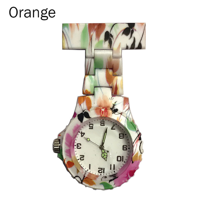 Colorful Silicone Round Dial Quartz Pocket Nurse Watch Quartz Brooch Doctor Nurse Hanging Watches NFE99