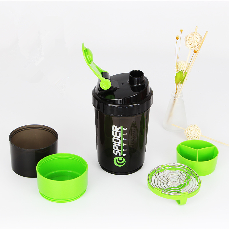 Shaker Bottle for Protein 500ML Powder Cup Plastic Mixing Protein Shaker Bottles for Sport Three Layer Sport Fitness YYB01