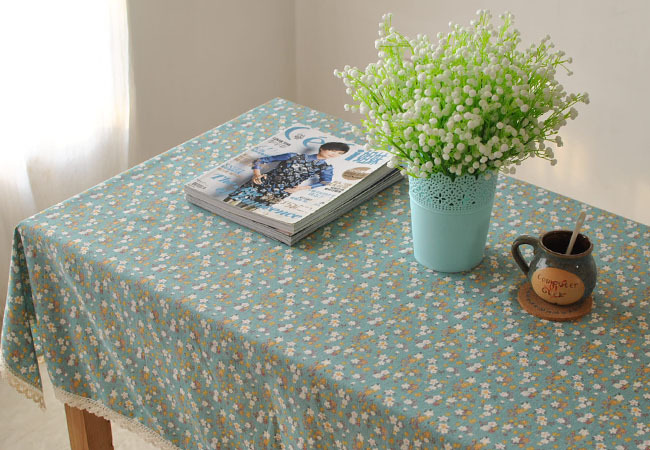 Pastoral pink green small floral cotton and linen tablecloths lace literary small fresh square coffee table cloth, covered cloth