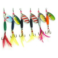 Hot 6pcs Spinner Bait Metal Lure 6cm 4g Hard Fishing Lures Tackle Set Copper Spoon Bait