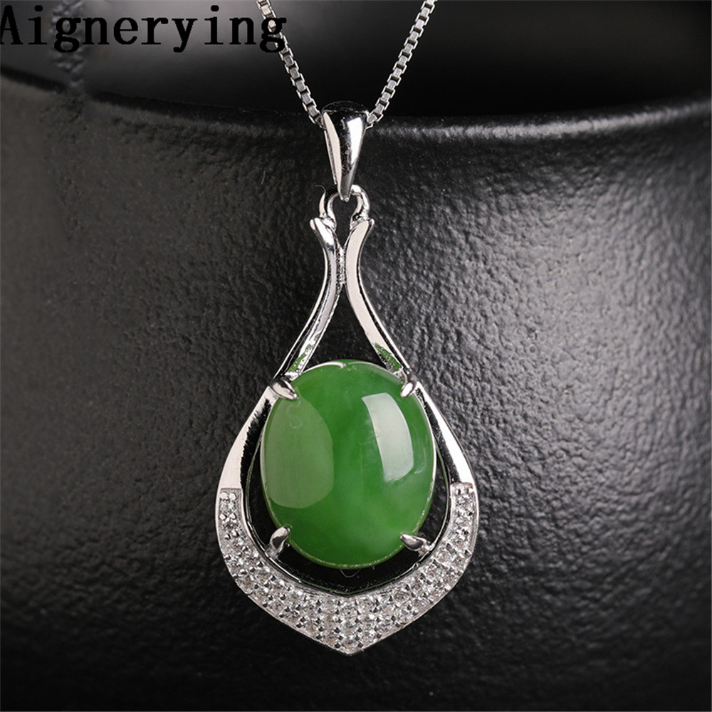 Certificate 925 silver Pendant Natural Green Jade Zircon Inlaid Green Jade Cute Girls Womans gift with Box Original Necklace Certificate 925 silver Pendant Natural Green Jade Zircon Inlaid Green Jade Cute Girls Womans gift with Box Original Necklace