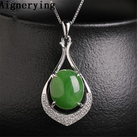 Certificate 925 silver Pendant Natural Green Jade Zircon Inlaid Green Jade Cute Girl's Woman's gift with Box Original Necklace