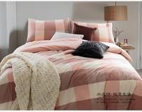 Краткое Дизайн хлопок Постельное бельё Твин Полный Queen King Размеры детская розовая в клетку постельное белье одеяло порхали Простыни крышка