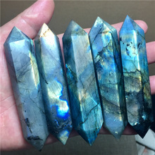 7cm 8cm 9cm natural moonstone labradorite double-pointed ornaments energy stone original cutting and polishing