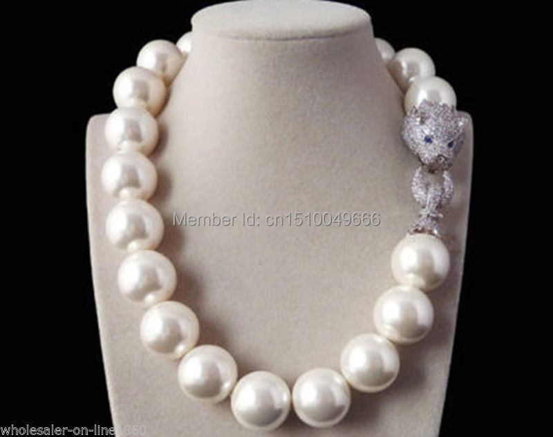 FREE SHIPPING>>Rare Huge Real 20mm South Sea White Shell Pearl Necklace W. Zircon leopard head