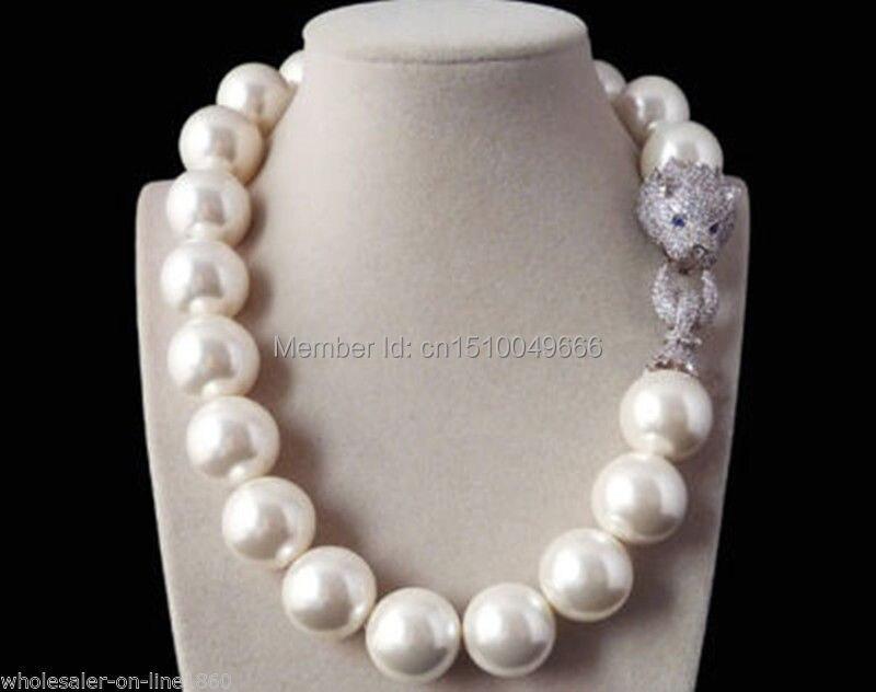 LIVRAISON GRATUITE>> Rare Énorme Réel 20mm Mer Du Sud Blanc Shell Perle Collier W. Zircon tête de léopard