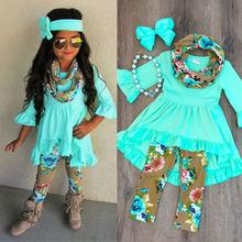 Kids Baby Girls Tops Blouse Floral Pants Leggings 3Pcs Set Clothes