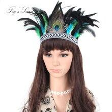 Hair band of Indian Gypsy Bohemian Netherland style elasticity Headband Handmade Peacock Feather цены