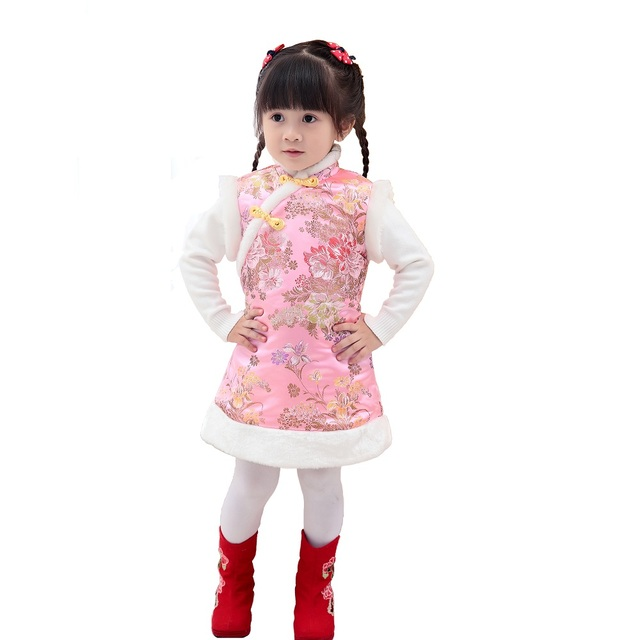 Pink Floral Baby Girl Dresses Coat Children Waistcoat Outerwear Sping  Festival Quilted Cheongsam Girls Clothes Chi-Pao Dress Top 4edf4a60bf37
