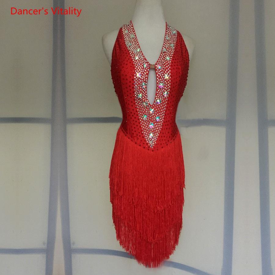 Sexy Backless Tassel Latin Dance Clothing Women/Girls Latin Dance Competition Dress Ballroom Dance Performance Dancewears