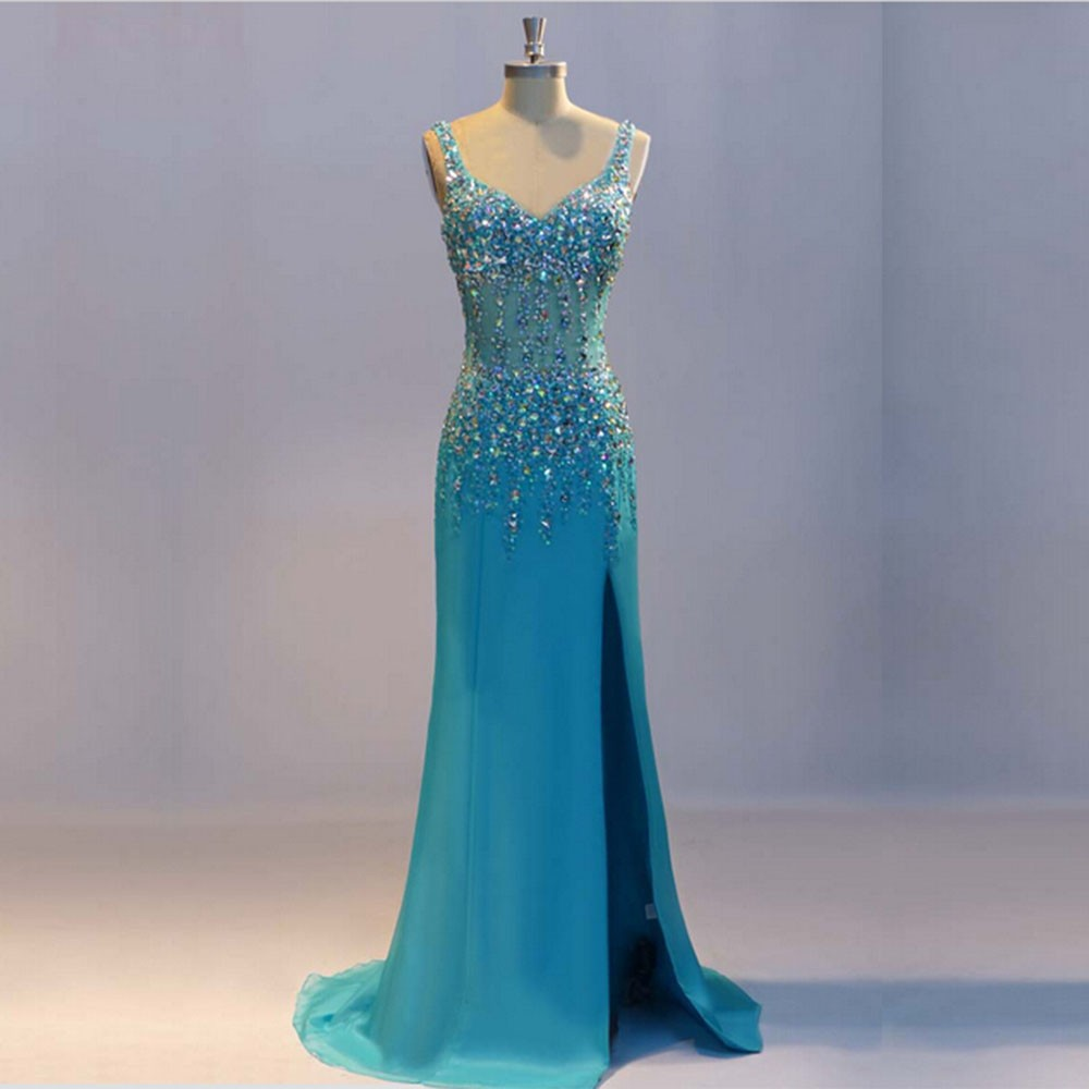 Real-Picture-Spaghetti-Straps-Side-Slit-Crystal-Beaded-Chiffon-Blue-Long-Evening-Dress-Elegant-Evening-Gown