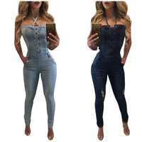Backless Denim Slim Overalls Women 2019 Sexy Halter Jeans Jumpsuits Sleeveless Playsuits Body for Women Rompers Womens Jumpsuit