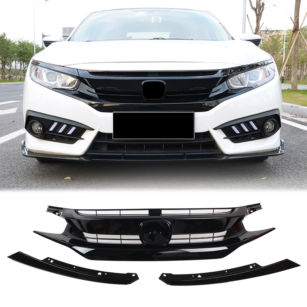 FOR 2016-18 HONDA CIVIC 10TH GEN BLK JDM CTR STYLE FRONT HOOD GRILL EYE LID
