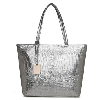 Brand Fashion Casual Women Shoulder Bags Silver Gold Black Crocodile Handbag PU Leather Female Big Tote Bag Ladies Hand Bags