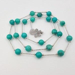 Image 2 - Уникальное винтажное ожерелье LiiJi с цепочкой на свитер, женские бирюзы 10 мм, каменные бусины, серебряное покрытие, искусственное ожерелье в стиле бохо