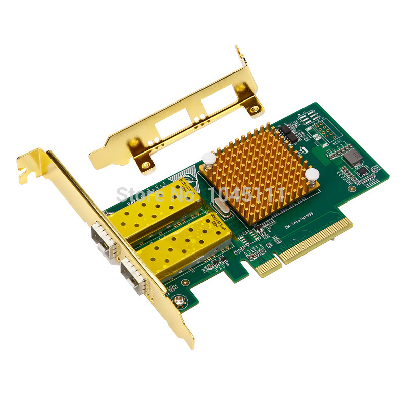 DIEWU INTEL82599ES PCI-E x8 Dual Port Fiber 10000Mbps X520 Sever Network Adapter Ethernet Network Card NIC winyao wyi350t4 pci e x4 rj45 qual port server gigabit ethernet 10 100 1000mbps network interface card for i350 t4 4 port nic