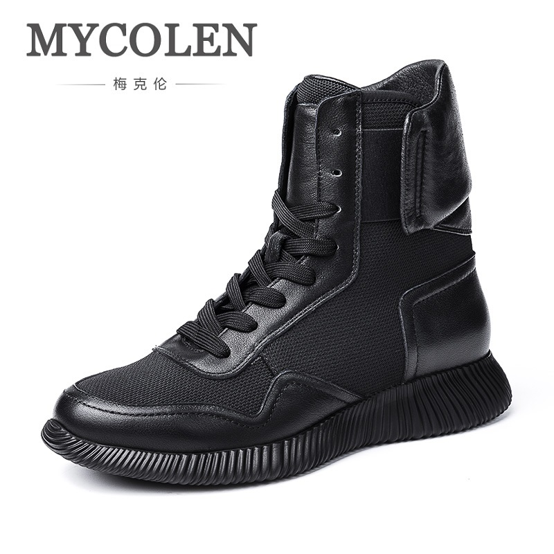 MYCOLEN High Quality Genuine Leather Boots Men Winter Shoes Warm Plush Men Boots Classic Lace-Up Ankle Boots Stivali InvernaliMYCOLEN High Quality Genuine Leather Boots Men Winter Shoes Warm Plush Men Boots Classic Lace-Up Ankle Boots Stivali Invernali