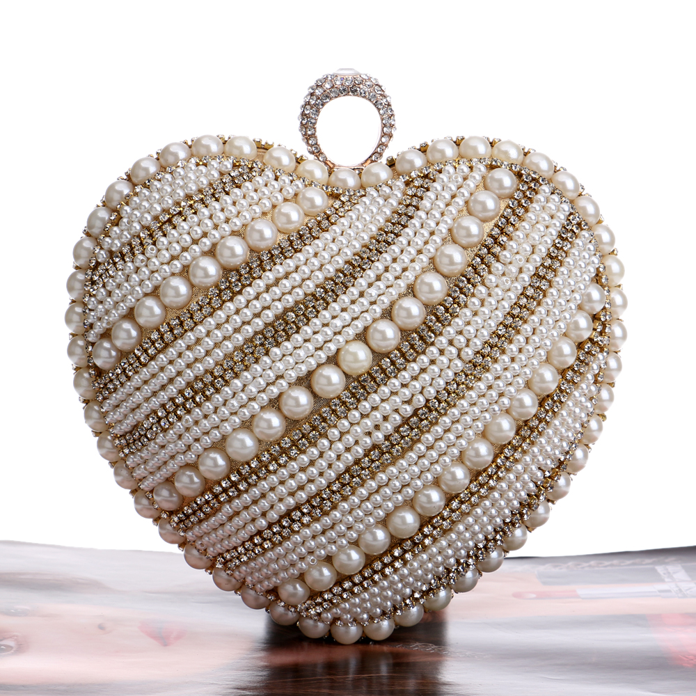 Wedding beaded women evening bags ring metal diamonds small purse day clutches black/silver/gold wallets