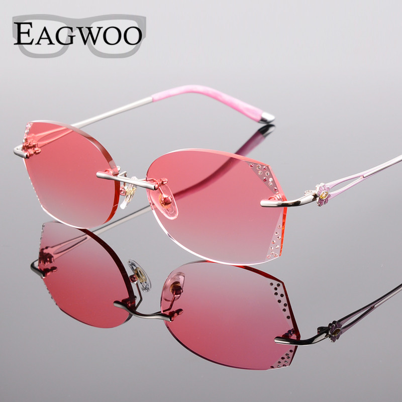 3f37ac9548 Alloy Eyeglasses Women Rimless Prescription Reading Myopia Sunglasses  Glasses with Color Tinted Prescription lenses 528061-in Eyewear Frames from  Apparel ...