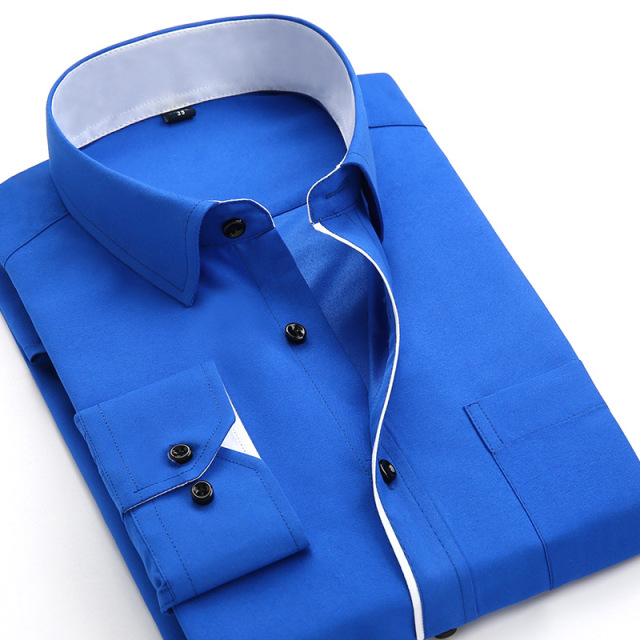 Men's Casual Cotton Long Sleeve Solid Color Slim Fit Shirt