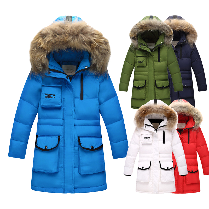 New Winter Down Jacket for Boys Real Raccoon Fur Hooded Outerwear Kid High Quality Children 3-16Year Warm Thick Down Coat 5 14y high quality boys thick down jacket 2016 new winter children long sections warm coat clothing boys hooded down outerwear