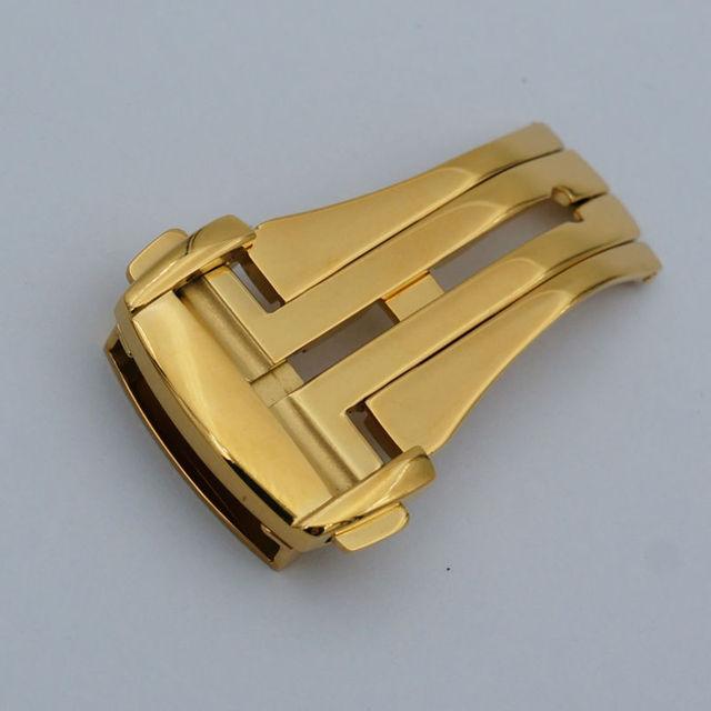 MAIKES Boa Qualidade Em Aço Inoxidável Polido Implantação Assista Band Botão fivela de Ouro 16 18 20mm Fecho Dobrável Caso Para OM
