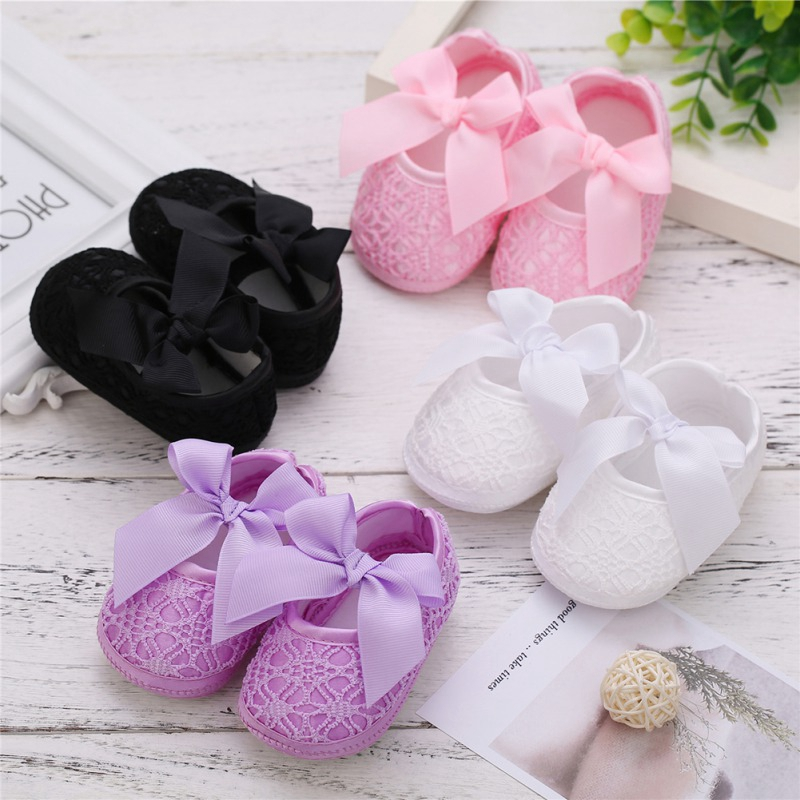 Baby Shoes Baby Girl Breathable Anti-Slip Shoes With Bowknot Casual Sneakers Toddler Soft Soled First Walkers For Newborns
